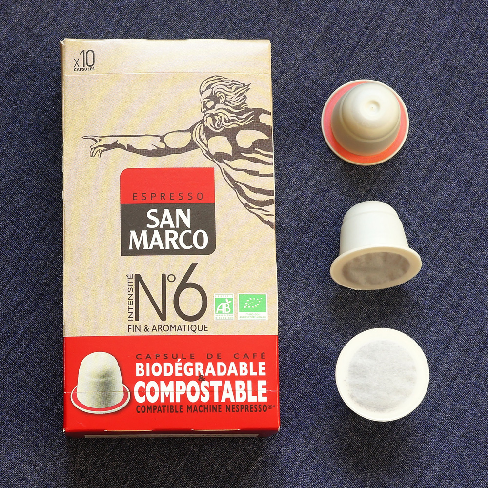 No. 6 by Espresso San Marco - biodegradable coffee capsules with the box on a dark background