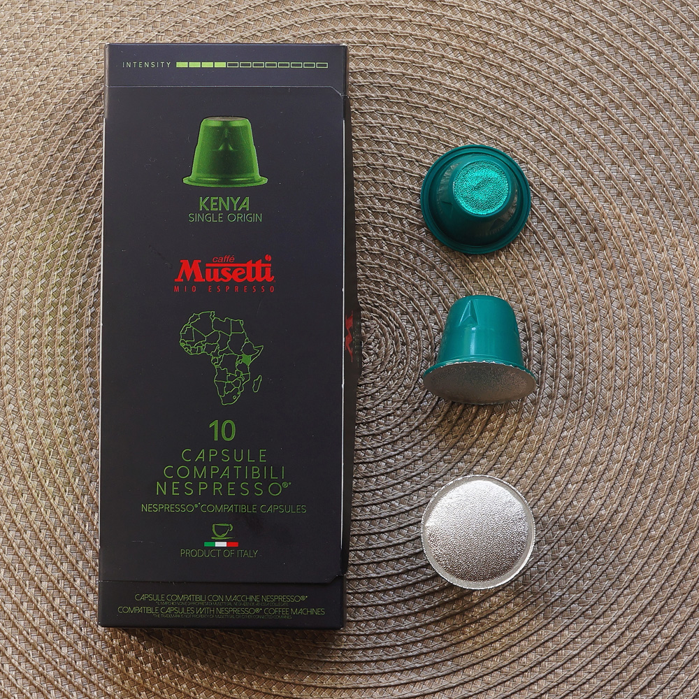 Kenya by Cafe Musetti coffee capsule box with three green capsules on the right side