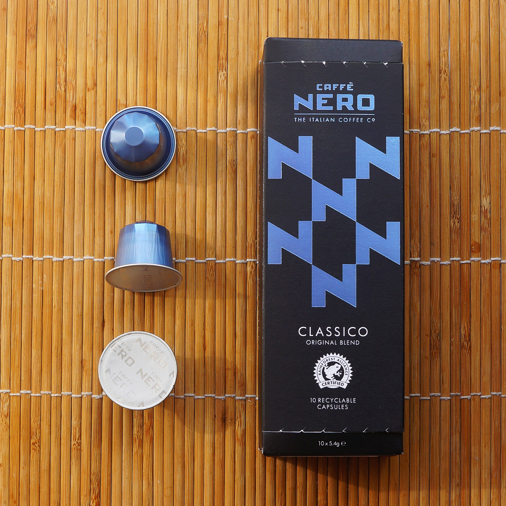 Classico by Caffè Nero coffee capsules with a box