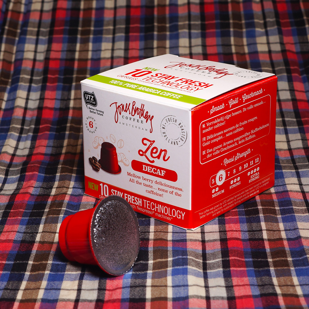 Zen by Jones Brothers coffee capsule box with a red capsule in the front